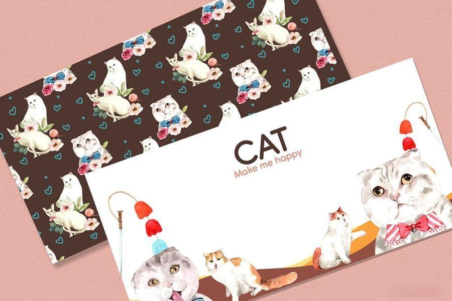 可爱风格的动物宠物猫手绘水彩PNG/JPG/PSD插画素材插图(6)