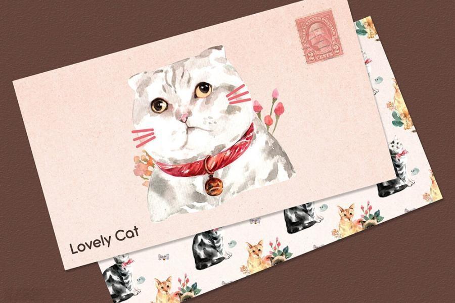 可爱风格的动物宠物猫手绘水彩PNG/JPG/PSD插画素材插图(7)