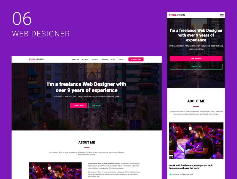 创意自由职业者的10个单页面网站集合插图(7)