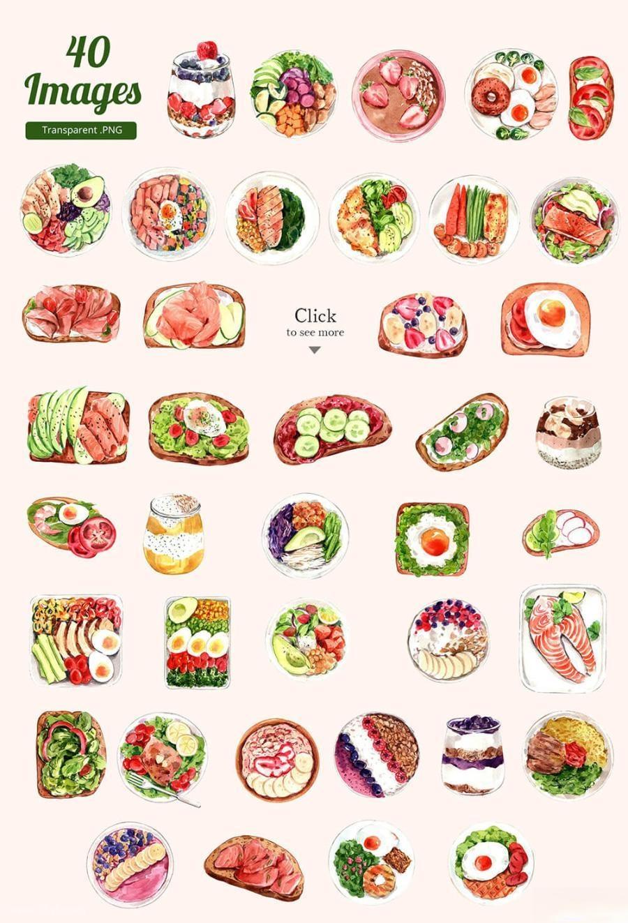 缤纷多彩的水彩手绘新鲜食物主题PNG/JPG/PSD插画素材插图(8)