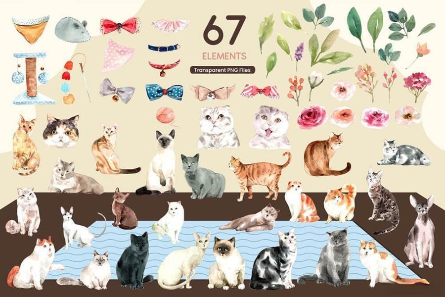 可爱风格的动物宠物猫手绘水彩PNG/JPG/PSD插画素材插图(8)