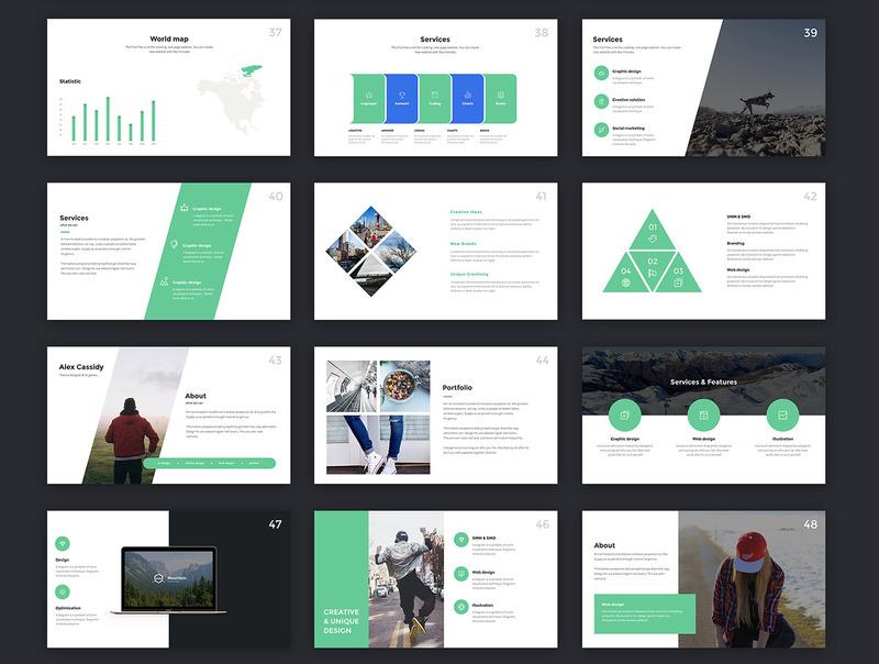 4种配色方案的现代创意keynote商务模板插图(3)