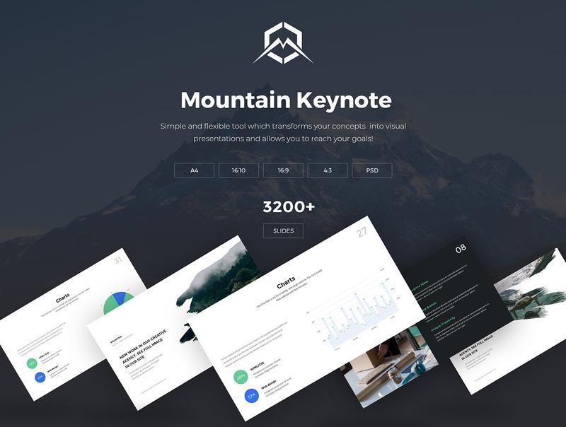 4种配色方案的现代创意keynote商务模板