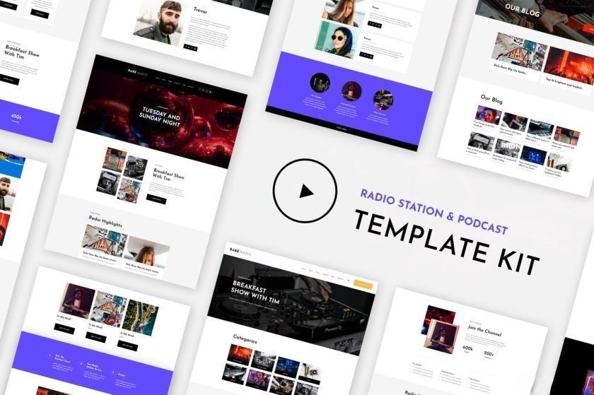 电台音乐网站WordPress主题Elementor模板