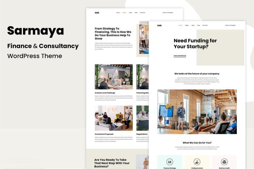 简洁大气的金融服务网站WordPress主题模板