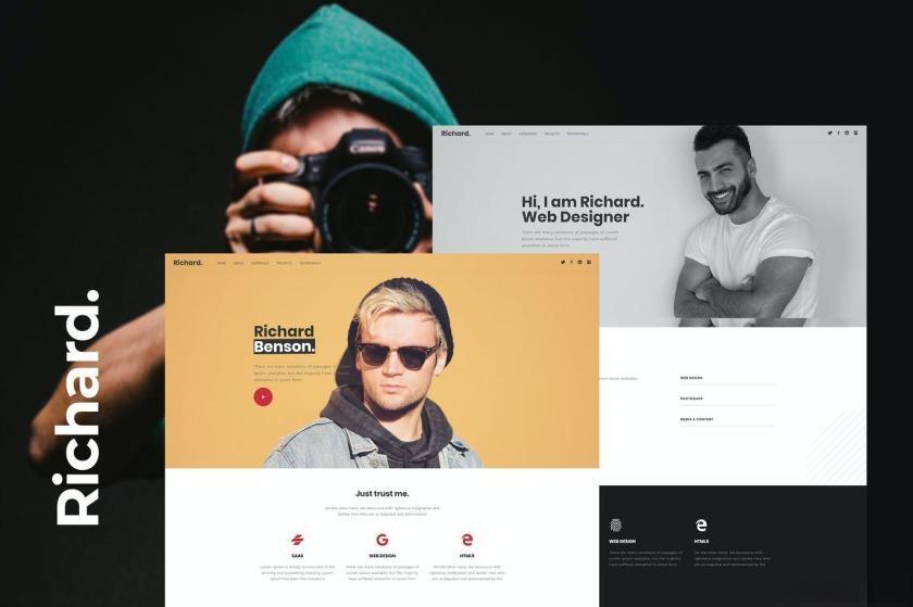 布局简洁的设计师个人网站WordPress主题模板