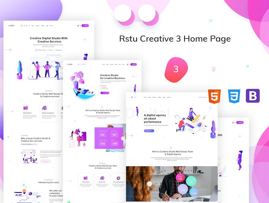 适用于展示作品和设计的个人网站html模板插图(2)