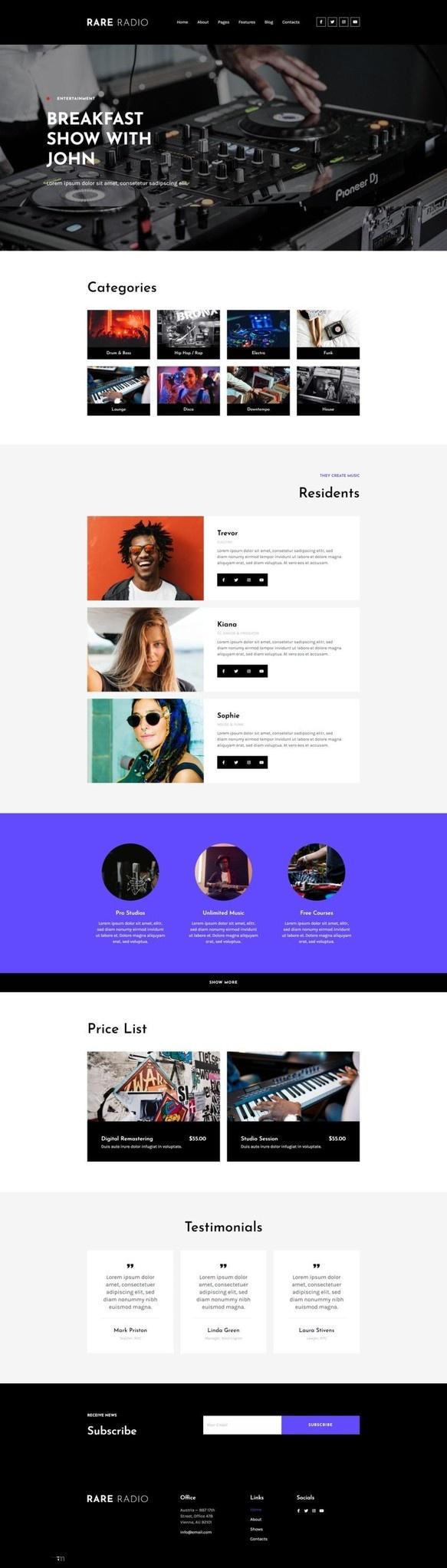 电台音乐网站WordPress主题Elementor模板插图(1)