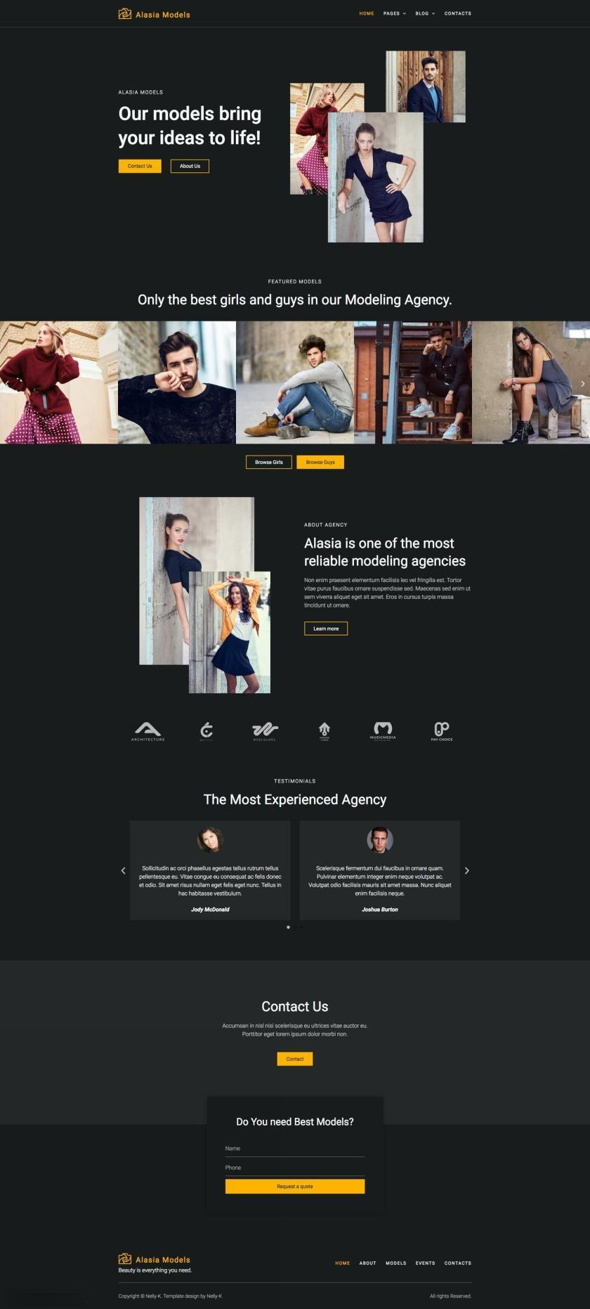 模特经纪公司网站WordPress主题Elementor模板插图(1)