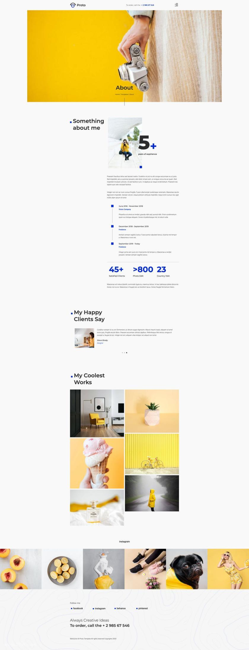 摄影师个人简历网站WordPress Elementor模板插图(2)