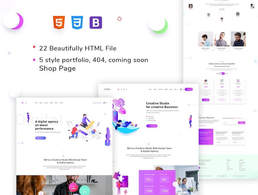 适用于展示作品和设计的个人网站html模板插图
