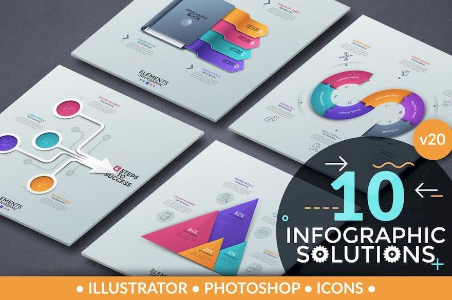 精美的ppt方案信息图表设计模板[Photoshop/Illustrator/121.1MB]百度网盘下载