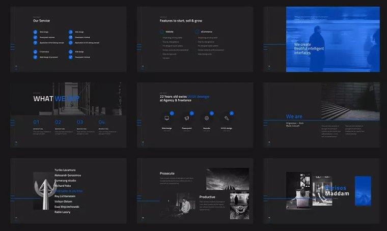 黑色高端的团队介绍ppt模板[PowerPoint/40.4MB]百度网盘下载插图(2)