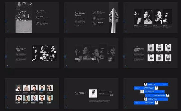 黑色高端的团队介绍ppt模板[PowerPoint/40.4MB]百度网盘下载插图(3)