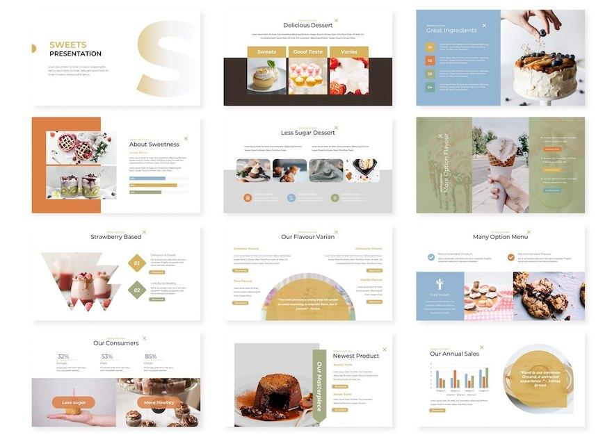 清新简约的美食甜点产品介绍ppt模板[PowerPoint/1.2MB]百度网盘下载插图(1)