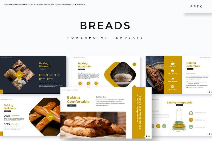 诱人的美食面包店介绍ppt模板[PowerPoint/1.3MB]百度网盘下载