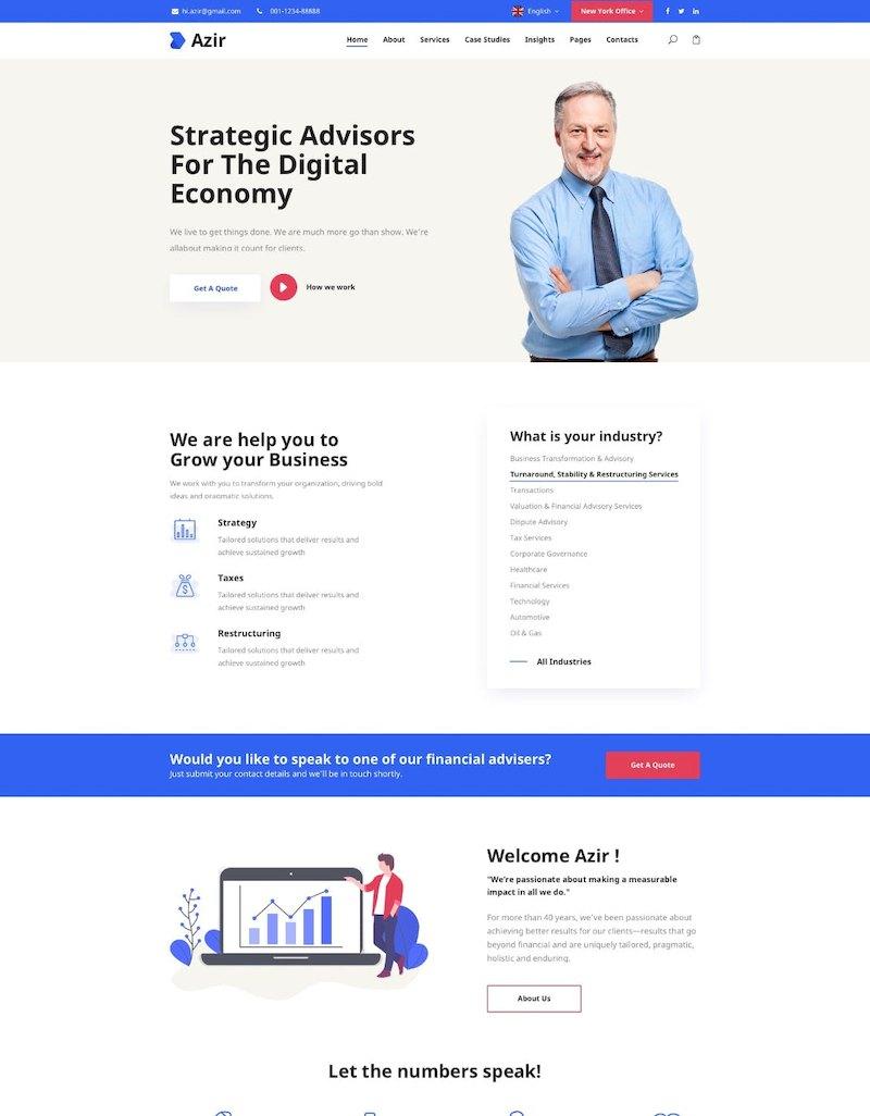财务咨询网站金融网页设计html前端代码模板插图(1)