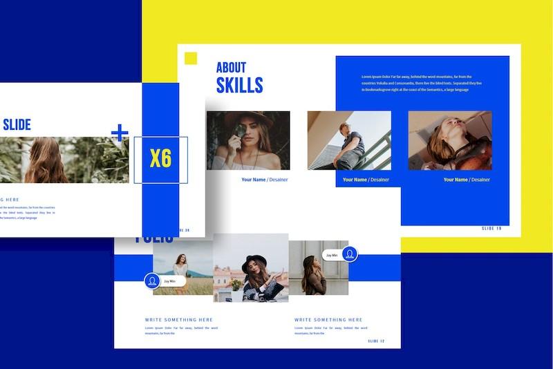 时尚撞色的设计师个人作品展示ppt模板[PowerPoint/Keynote/6.9MB]百度网盘下载插图(2)
