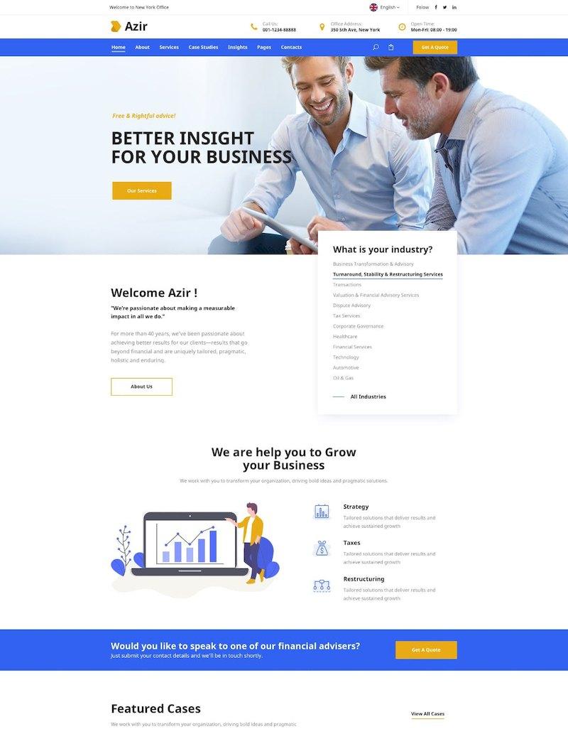 财务咨询网站模板金融网页设计html前端代码模板