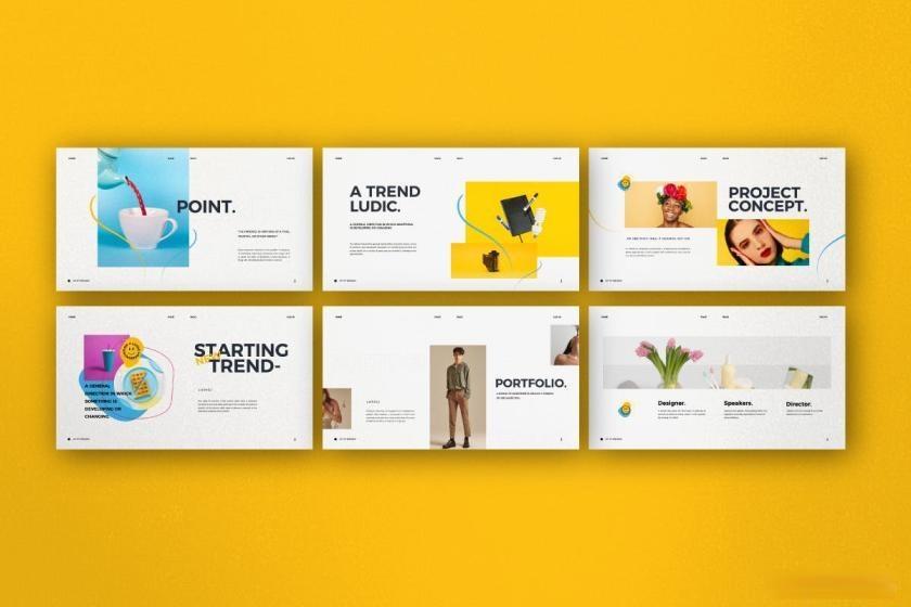 时尚动感活泼配色的公司介绍ppt设计模板[PowerPoint/4.88MB]百度网盘下载插图(4)
