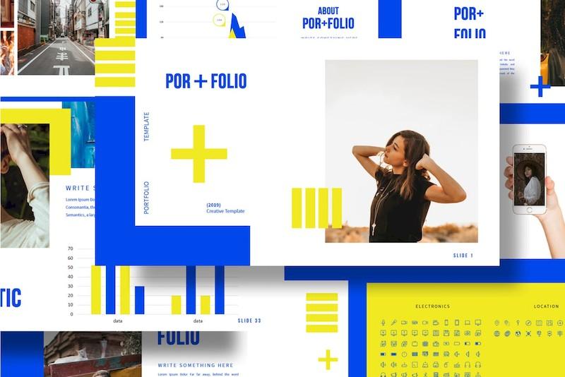 时尚撞色的设计师个人作品展示ppt模板[PowerPoint/Keynote/6.9MB]百度网盘下载插图(3)