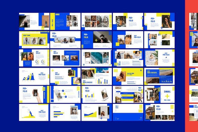 时尚撞色的设计师个人作品展示ppt模板[PowerPoint/Keynote/6.9MB]百度网盘下载