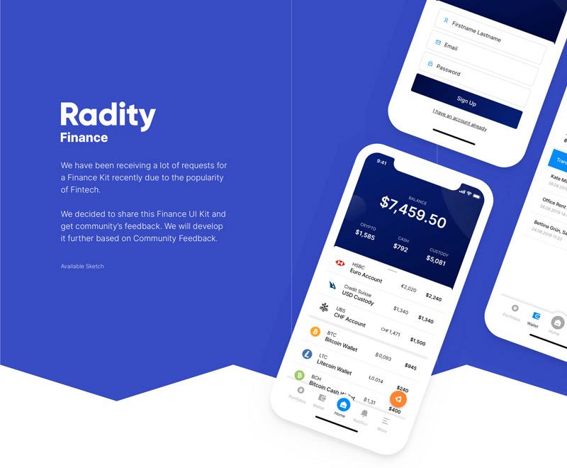 一组简单设计的金融金融app UI工具包-Sketch素材