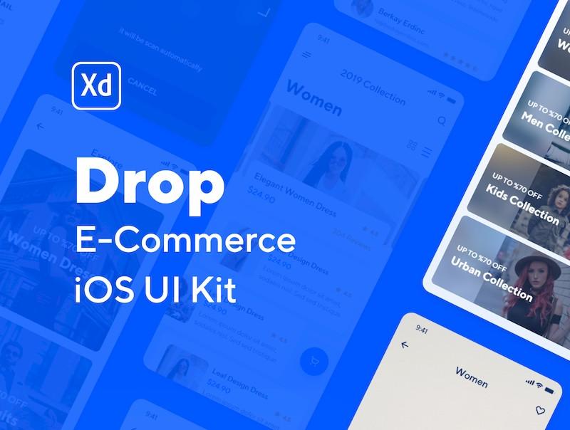 简洁、独特的iOS电子商务app设计模板-Adobe XD素材