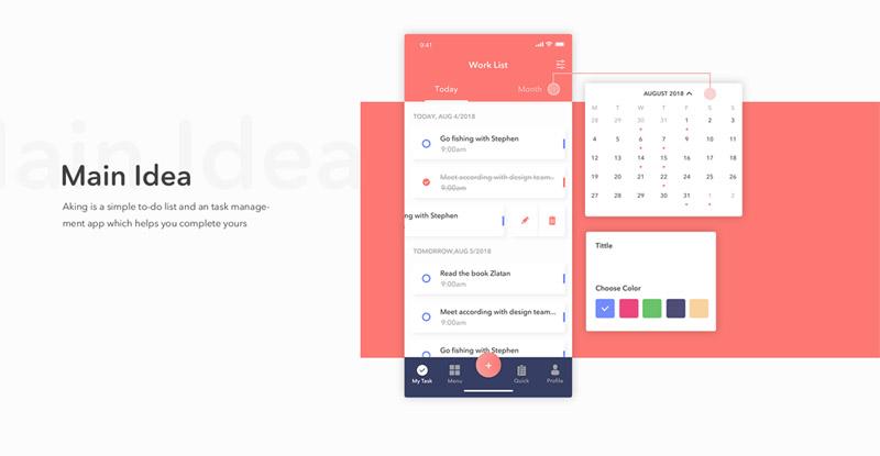 待办事项列表和任务管理app ui设计模板-Sketch素材