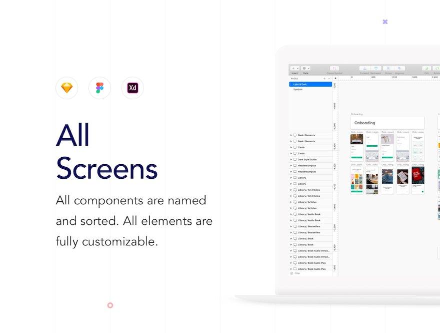 热门实用的读物类app ui设计模板-Sketch/Adobe XD/Figma素材