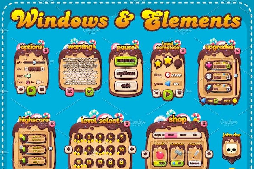 """可爱的""""甜品""""主题游戏设计素材-Illustrator/svg素材"""