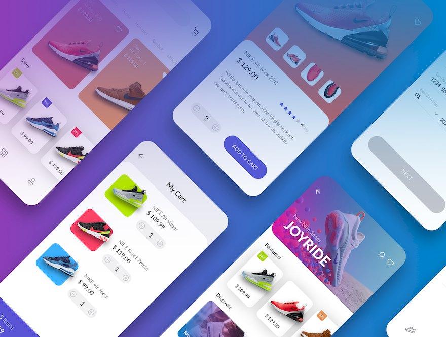 时尚精致的电子商务app ui设计模板-Sketch素材