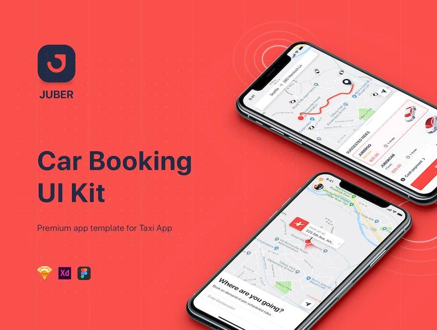 时尚的旅行网约车应用app ui设计模板-Sketch/Adobe XD/Figma素材