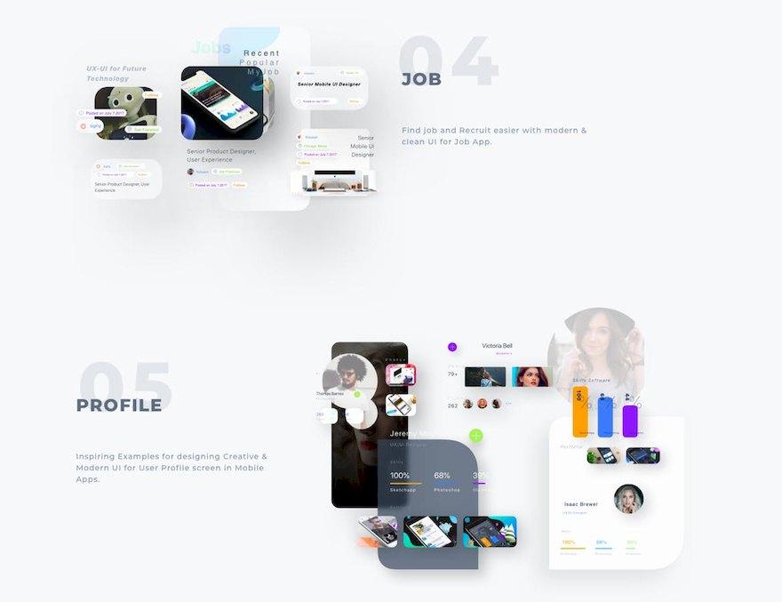 时尚大阴影设计风格的多功能app ui设计模板-Sketch素材