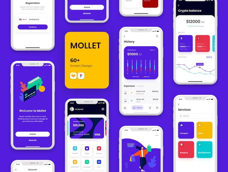 实用的金融钱包app界面设计模板-Sketch/Figma素材