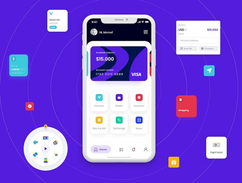 实用的金融钱包app界面设计模板-Sketch/Figma素材-2.jpg