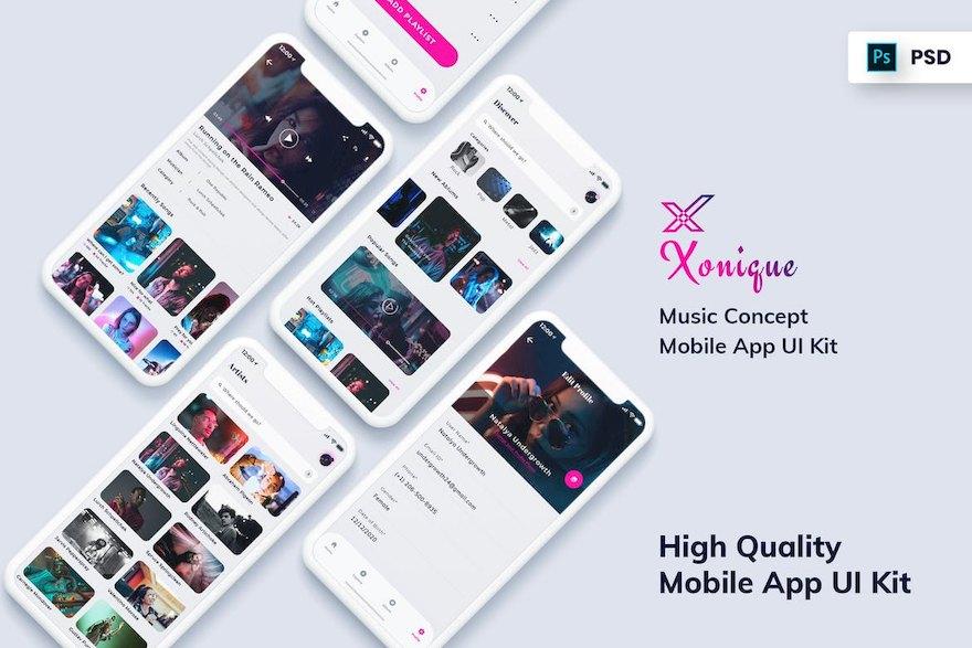高质量的现代音乐app ui设计模板-Photoshop素材