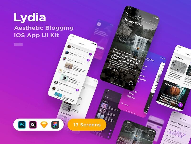 漂亮简洁的ios社交博客app模板-Sketch/Photoshop/Adobe XD/Figma素材