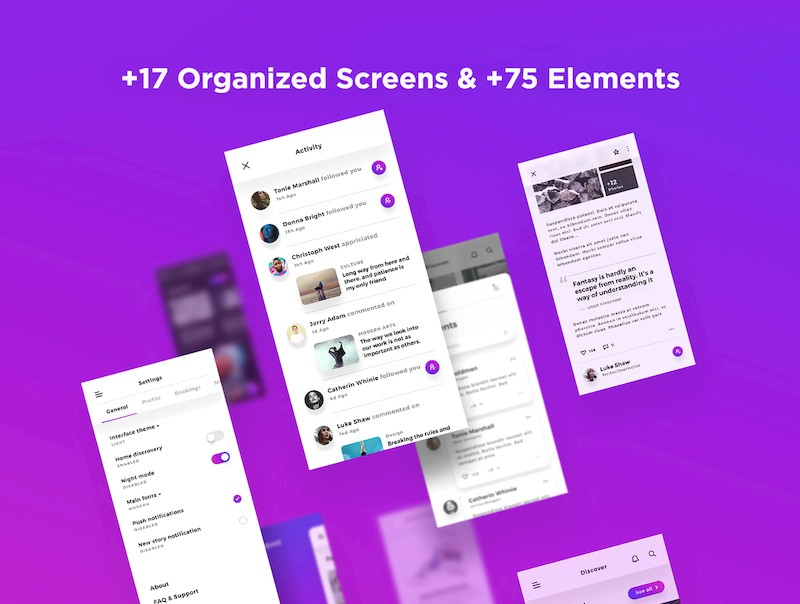 漂亮简洁的ios社交博客app模板-Sketch/Photoshop/Adobe XD/Figma素材-1.jpg