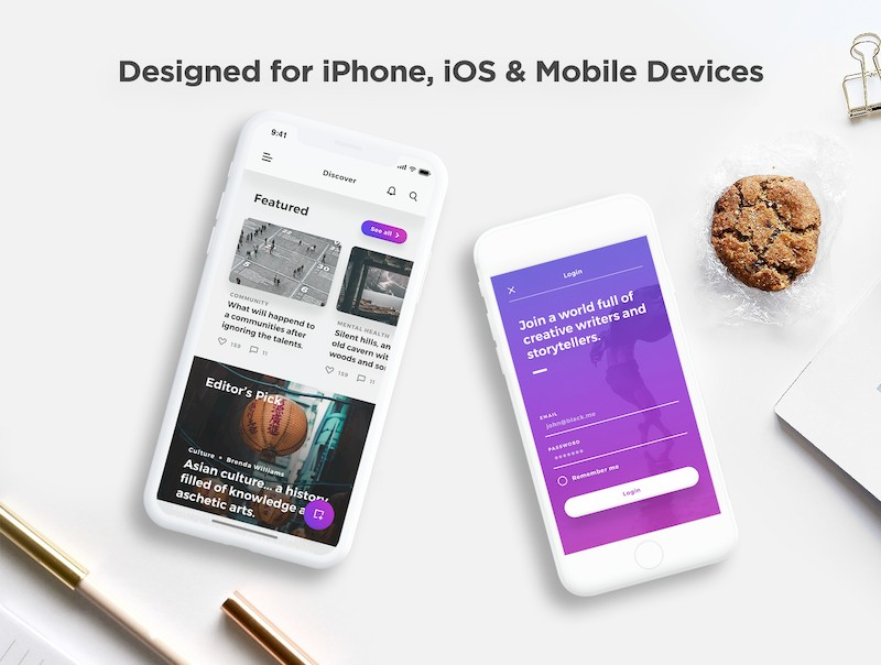 漂亮简洁的ios社交博客app模板-Sketch/Photoshop/Adobe XD/Figma素材-6.jpg