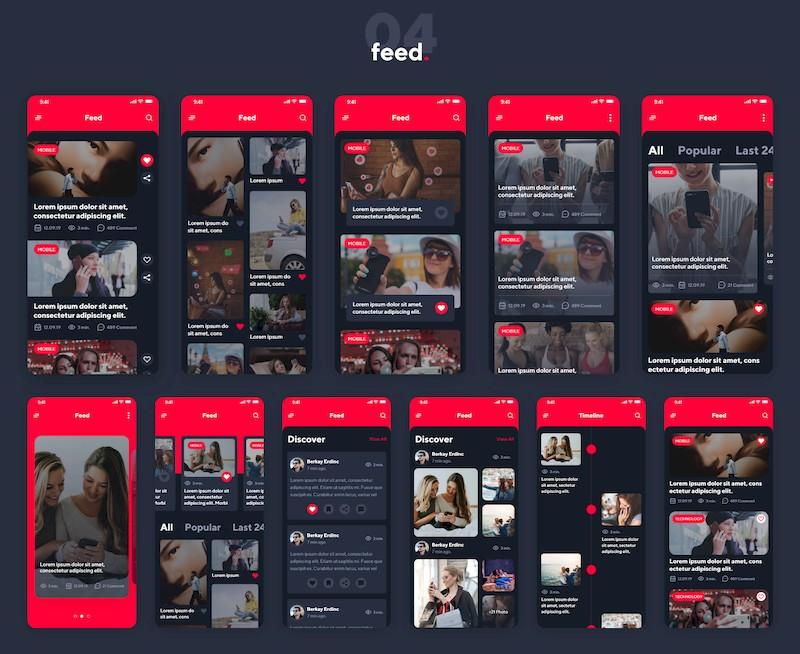 一套多功能的iOS红黑配色app设计模板-Adobe XD素材-3.jpg