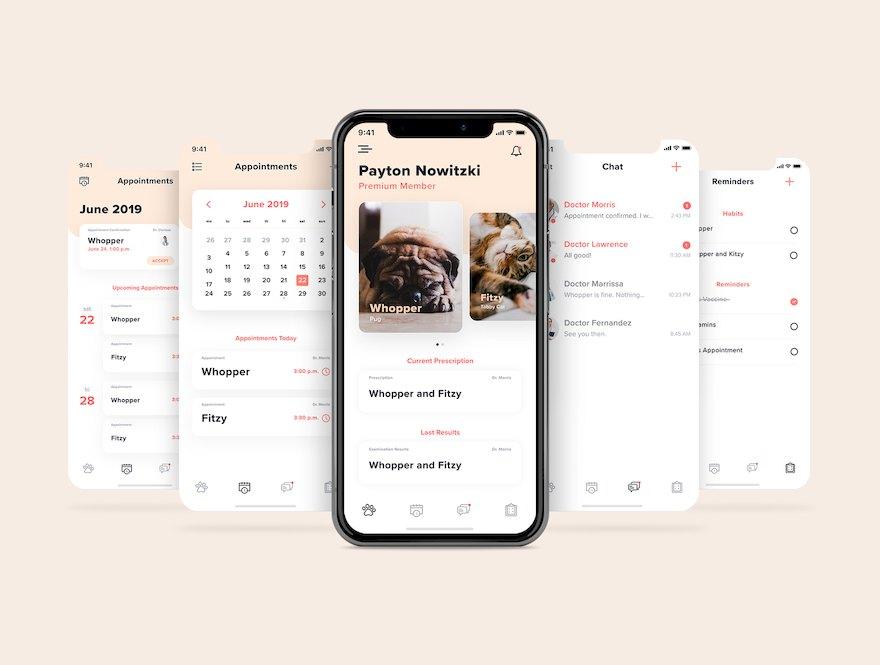 宠物医疗app界面设计模板-Adobe XD素材