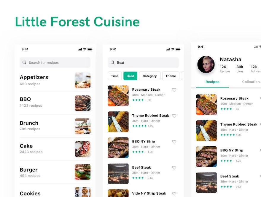 美食食谱app设计模板-Sketch素材